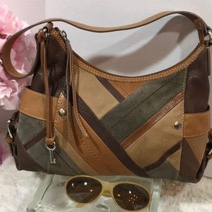 Fossil patchwork leather hobo bag
